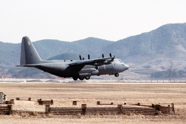 A right rear view of an AC-130H Hercules aircraft taking off during exercise Team Spirit '81