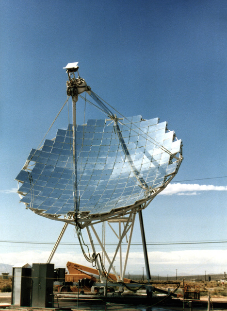 A view of one of the experimental parabolic dish concentrator modules operated by the Jet Propulsion Laboratory at the Test Bed Concentrator Site. The module has achieved temperatures of 1,500 degrees Fahrenheit