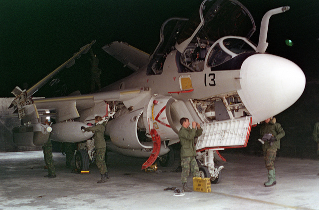 Aircraft ground crewmen inspect and make minor repairs on a Marine EA-6B Prowler aircraft in a hangar during exercise Team Spirit '81. The crewmen are members of Marine Aircraft Group 12 (MAG-12)