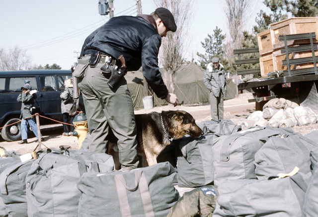 An 8th Security Police Squadron member and his sentry dog inspect the luggage of arriving F-4G Phantom II squadron members for drugs during exercise Team Spirit '81