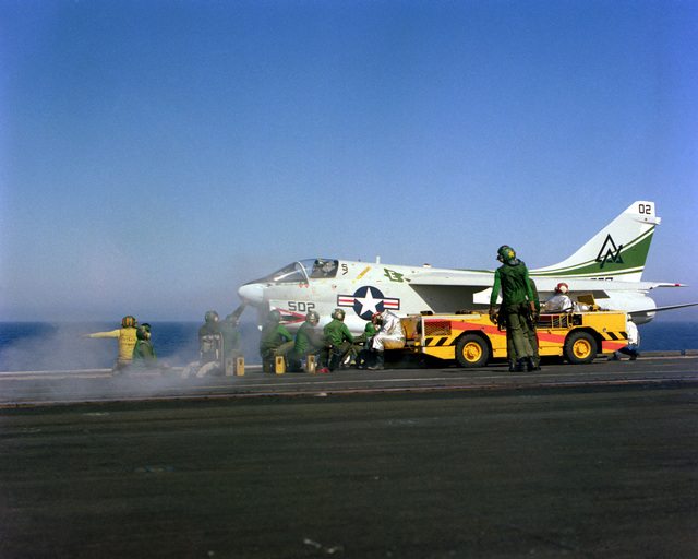 An A-7 Corsair II attack aircraft prepares to takeoff aboard the aircraft carrier USS CORAL SEA (CV-43)
