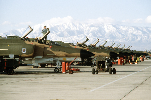 F-4 Phantom II aircraft are parked in a line on the ramp during exercise Team Spirit (Coronet Spray)