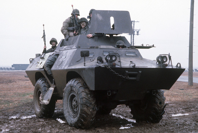 Security policeman aboard an armored vehicle participate in exercise Team Spirit '81