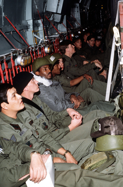 Troops are aboard a C-141 Starlifter aircraft ready for a flight during exercise Team Spirit (Coronet Spray)