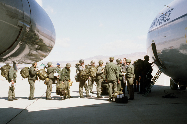 Troops embark a C-141 Starlifter aircraft during exercise Team Spirit (Coronet Spray)