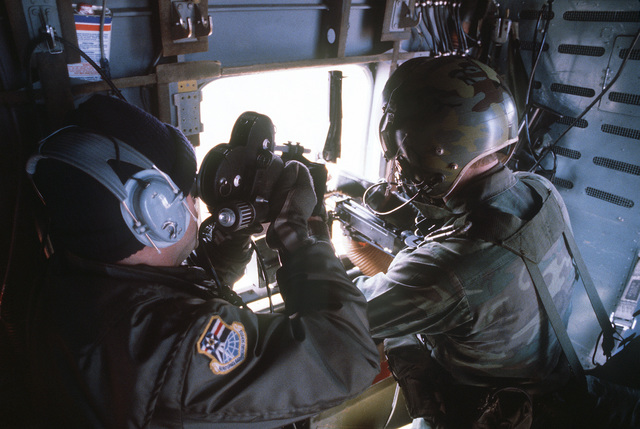 TSGT Pat Knowles, from the 1363rd Audiovisual Squadron, shoots motion picture of a pararescue team member during a UH-1N Iroquois helicopter mission. The latter, from the 38th Aerospace Rescue and Recovery Squadron, is involved in exercise Team Spirit '81