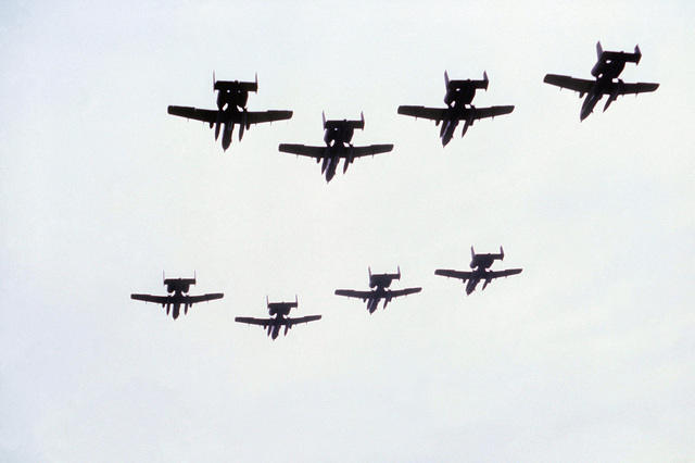 Eight A-10 Thunderbolt II aircraft perform a fly-over at the air base during exercise Coronet Sail