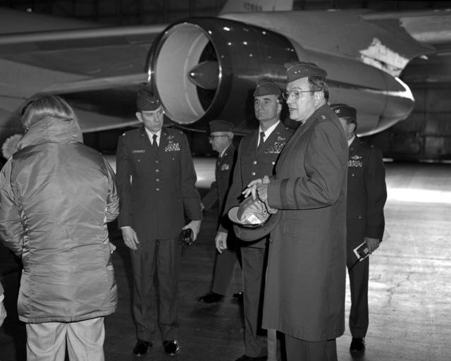 During GEN Robert C. Mathis' tour of the base, he is escorted by LGEN Winfield W. Scott Jr., commander, Alaskan Air Command, and COL Carl W. Granberry, base commander