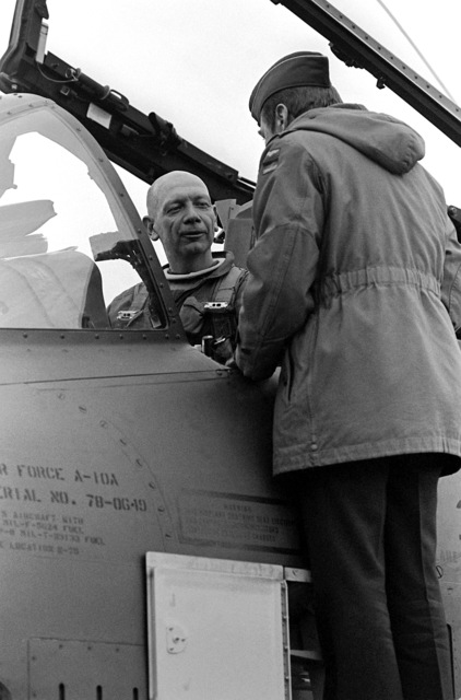 COL Gloystein, commander, 32nd Tactical Fighter Wing, greets BGEN Paul A. Schempp, commander, 174th Tactical Fighter Wing, upon his arrival aboard an A-10 Thunderbolt II aircraft after a 12-hour non-stop flight. The men are participating in exercise Coronet Sail