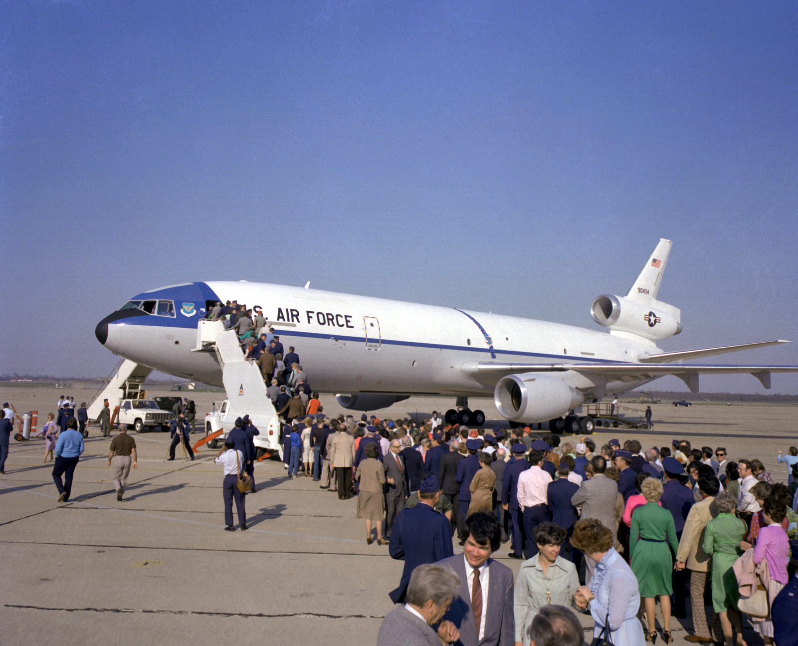 A crowd files aboard the KC-10A Extender aircraft that was just delivered here by Douglas Aircraft Company