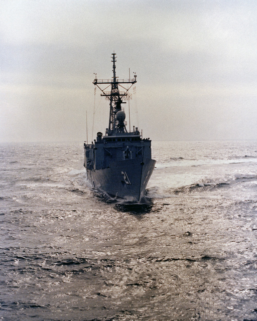 Aerial starboard bow view of the Oliver Hazard Perry class guided missile frigate USS FLATLEY (FFG 21) underway during acceptance trials