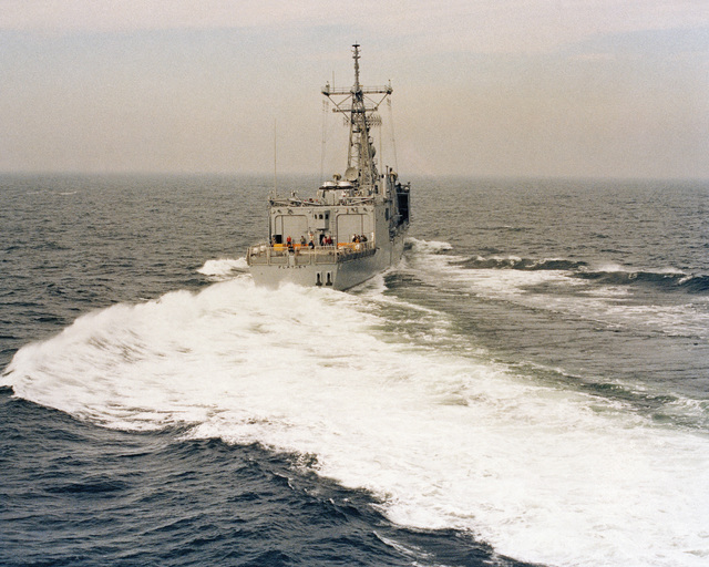 Starboard quarter view of the Oliver Hazard Perry class guided missile frigate USS FLATLEY (FFG 21) underway during acceptance trials