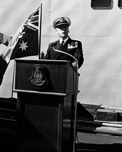 CMDR B. Wilson, commanding officer of the Australian frigate HMAS CANBERRA (F-02), speaks during the ship's commissioning ceremony at Todd Pacific Shipyards Corporation