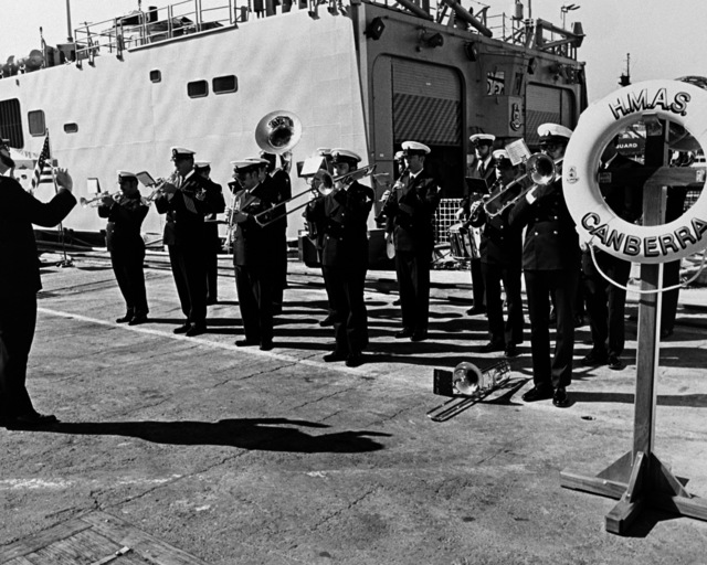 The 13th Naval District Band performs during the commissioning ceremony for the Australian frigate HMAS CANBERRA (F-02) at Todd Pacific Shipyards Corporation