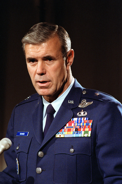 BGEN Thomas C. Richards, commander, U.S. Air Force Recruiting Services, rehearses for a television interview