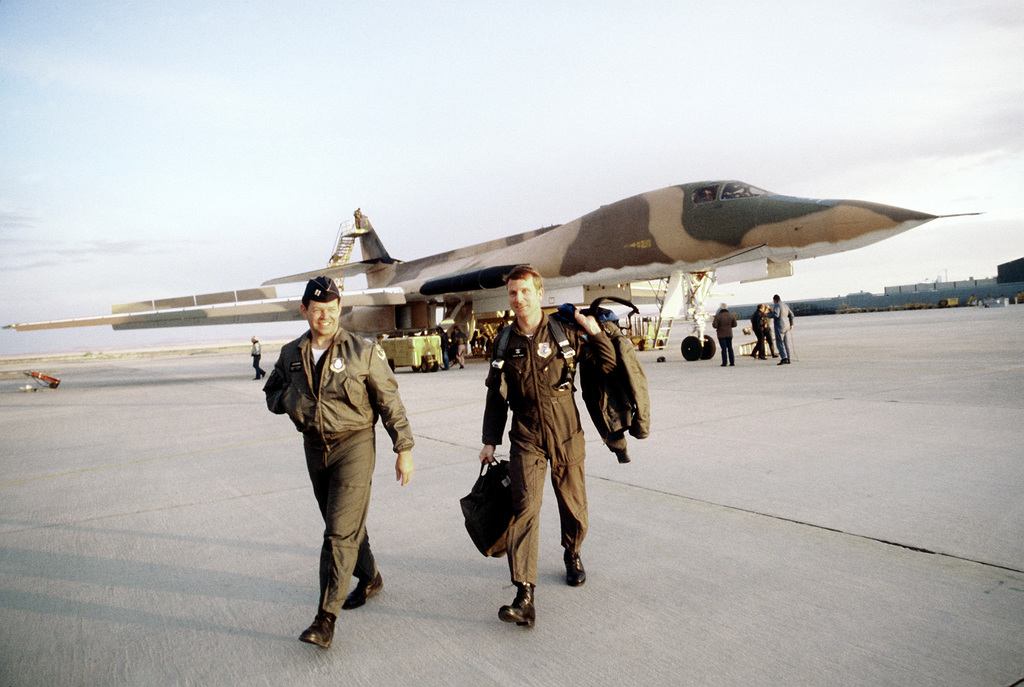 LTC T. D. Benifield and CPT Dale L. Autry, B-1 bomber pilots, leave the aircraft after landing during testing and evaluation of the aircraft. The pilots are assigned to the 4200th Test and Evaluation Squadron