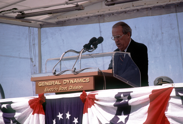 Sen. Henry Jackson, D-Washington, speaks at commissioning ceremonies for the nuclear-powered attack submarines USS BREMERTON (SSN-698)