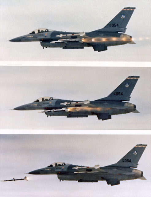 Composite photo of an F-16 Fighting Falcon aircraft in the succession of firing an advanced medium-range air-to-air missile