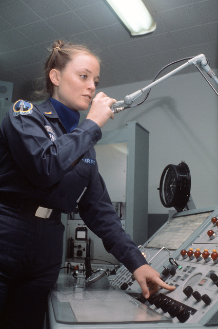 Second LT. Susan M. Twomey, deputy Titan missile combat crew commander of the 533rd Strategic Missile Squadron (SMS), performs her duties