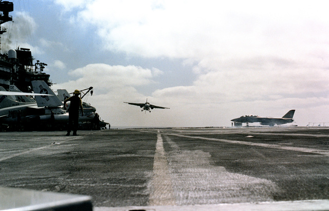 A front view of an S-3A Viking from Air Anti-submarine Squadron 29 (VS-29) as it makes the 200,000th aircraft landing aboard the aircraft carrier USS KITTY HAWK (CV-63)