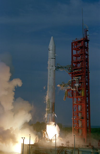 An Atlas-Centaur 56 rocket is launched and is carrying an INTELSAT V commercial communications satellite. The launching took place at Complex 36