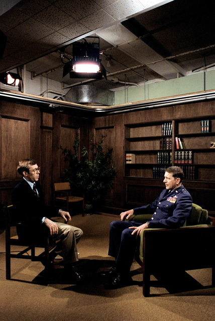 BGEN William J. Breckner Jr. is interview by an Air Force major from the public affairs office of the secretary of the Air Force during media training at the Pentagon