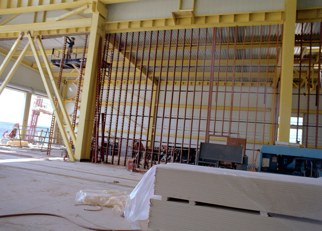 A view of installation of metal wall studs at the Missile X (MX) advanced intercontinental ballistic missile mechanical maintenance facility