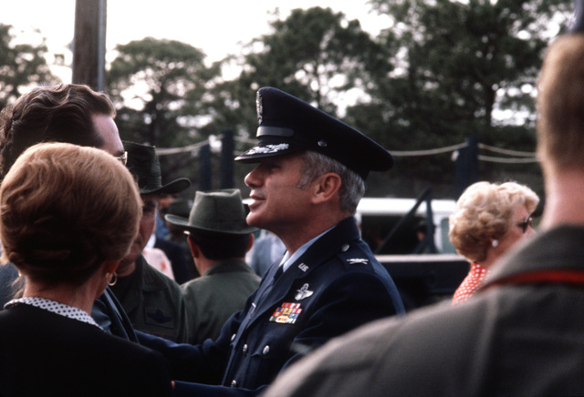 A close-up view of COL Thomas Schaefer, who was the senior military member of the Iranian hostages, as he attends the 1ST Special Operations Wing memorial service for the eight servicemen, including its five members, who were killed in the attempt to rescue the American hostages held in Iran on April 24, 1980