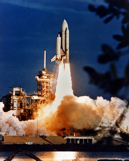 The launching of the space shuttle Columbia