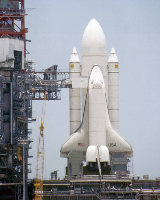 The space shuttle Enterprise in the launch position. This is the first time that the complete space shuttle configuration has been assembled