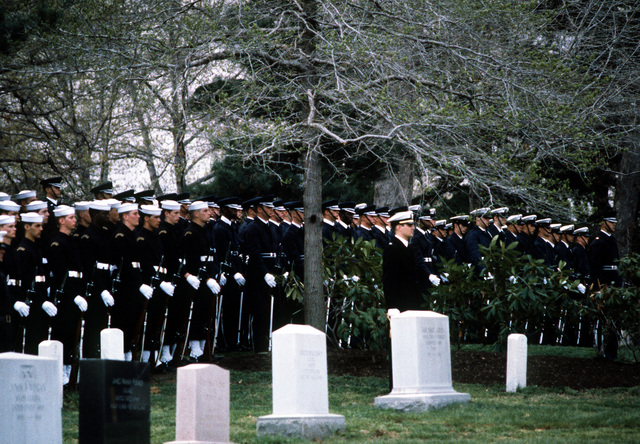 Joint-Service honor guards stand at attention during the funeral of GEN Omar Bradley