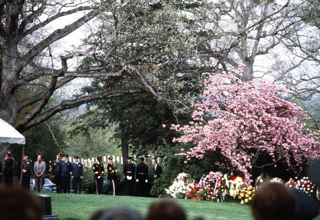 Servicemen observe the funeral of GEN Omar Bradley
