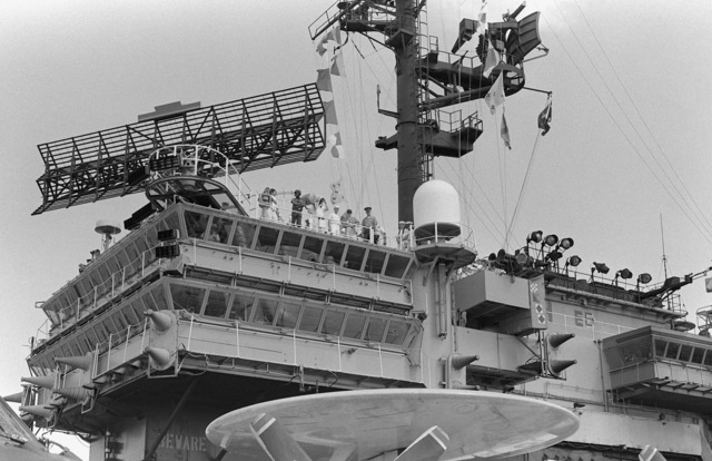 The island superstructure of the aircraft carrier USS KITTY HAWK (CV-63)
