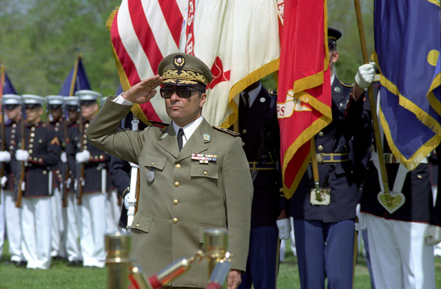 Republic of Tunisia Army MAJ. GEN. Abdel Hamid Ben Mohamed Escheikh, CHIEF of STAFF, Tunisian Army, salutes during the Armed Forces Full Honors Arrival Ceremony, conducted in his honor outside the Pentagon on April 20, 1981.  OSD Package No. A07D-00372 (DOD PHOTO by Robert D. Ward) (Released)