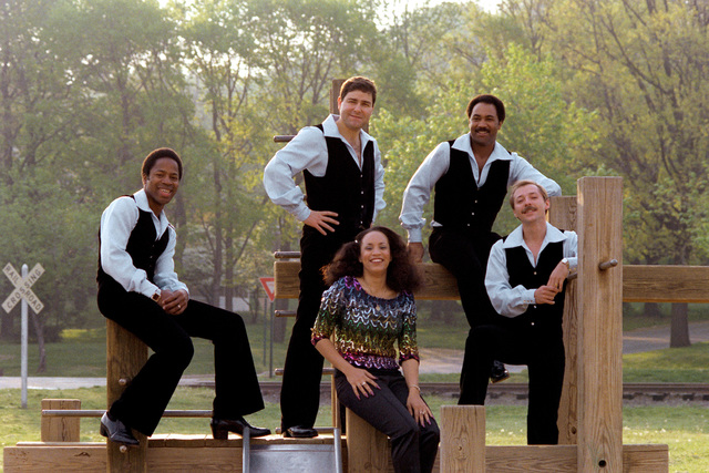 Candid shot of Mach One, the Air Force Band's contemporary music group