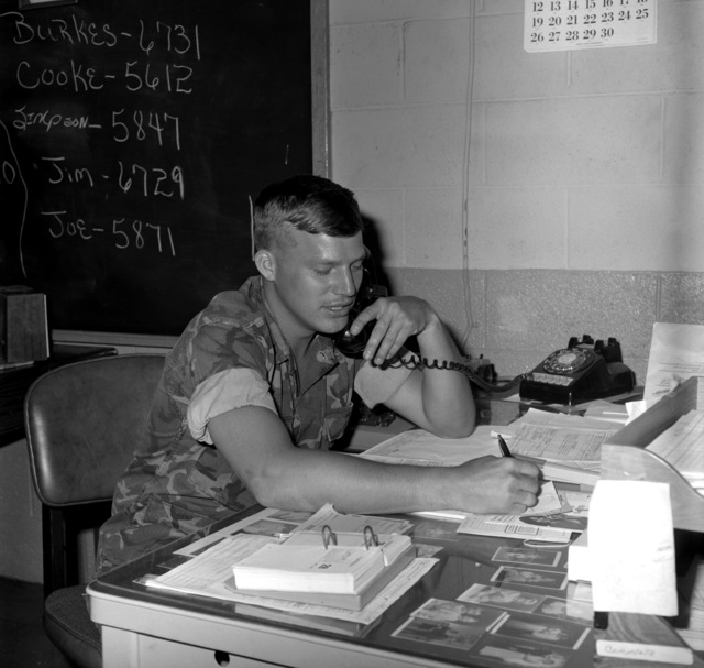 SGT D.M. Scherrer is the supply liaison for civilians and military personnel on the base. Here, he is pictured making notes for a supply order for the Maintenance Branch, Facilities and Services Division