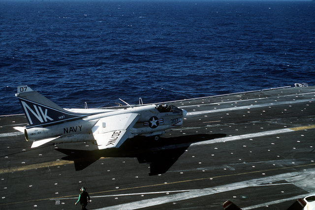 A right side view of an A-7 Corsair II aircraft from Attack Squadron 97 (VA-97) after landing on the flight deck of the aircraft carrier USS CORAL SEA (CV-43)