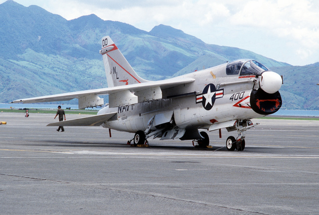 A right side view of an Attack Squadron 94 (VA-94) A-7E Corsair aircraft parked on the flight line