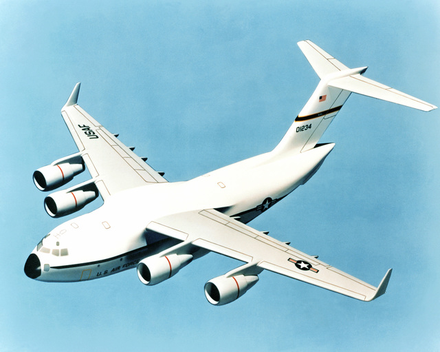 An artist's concept of the proposed cargo experimental aircraft design submitted by McDonnell Douglas. The aircraft is a long range, air refuelable, all-weather turbofan aircraft designed to operate out of small airfields