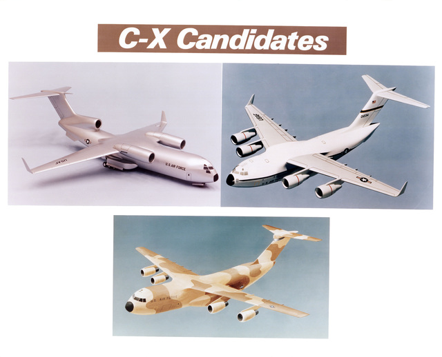 Proposals from three United States aircraft manufacturers for the Air Force Cargo Experimental (CX) aircraft are: Boeing (upper left), McDonnell-Douglas (upper right) and Lockheed