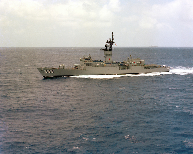 A port beam view of the frigate USS BARBEY (FF-1088) underway en route to Hawaii