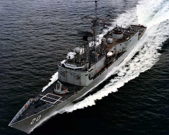 A port bow view of the guided missile frigate ANTRIM (FFG-20) as Todd Pacific Shipyards Corporation conducts sea trials