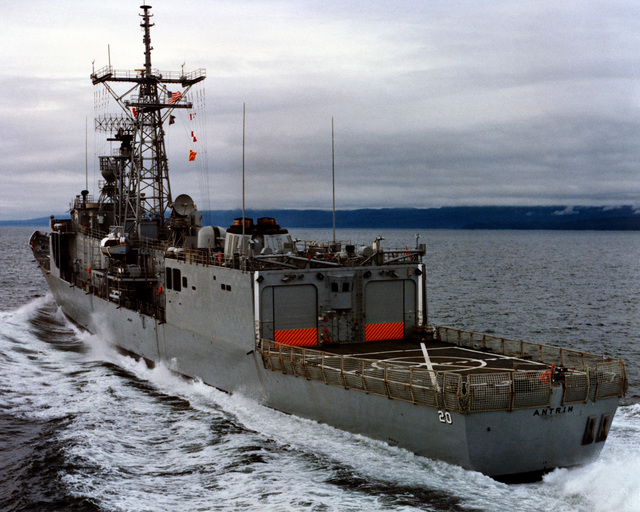 A port quarter view of the guided missile frigate ANTRIM (FFG-20) as Todd Pacific Shipyards Corporation conducts sea trials