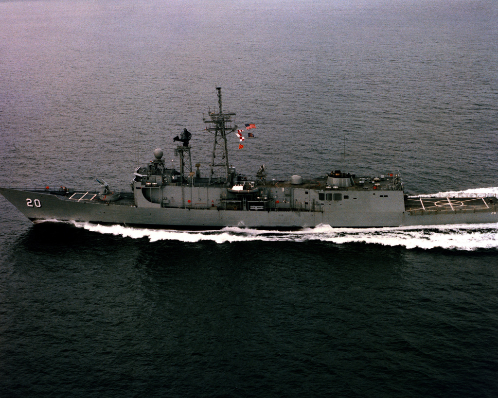 An aerial port beam view of the guided missile frigate ANTRIM (FFG-20) as Todd Pacific Shipyards Corporation conducts sea trials
