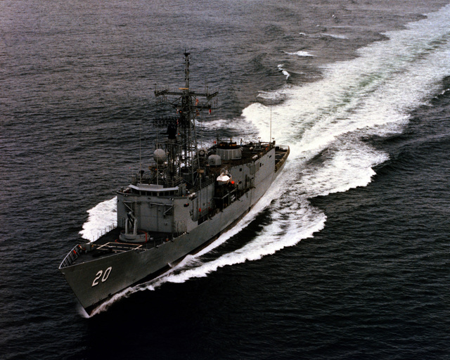 An aerial port bow view of the guided missile frigate ANTRIM (FFG-20) as Todd Pacific Shipyards Corporation conducts sea trials