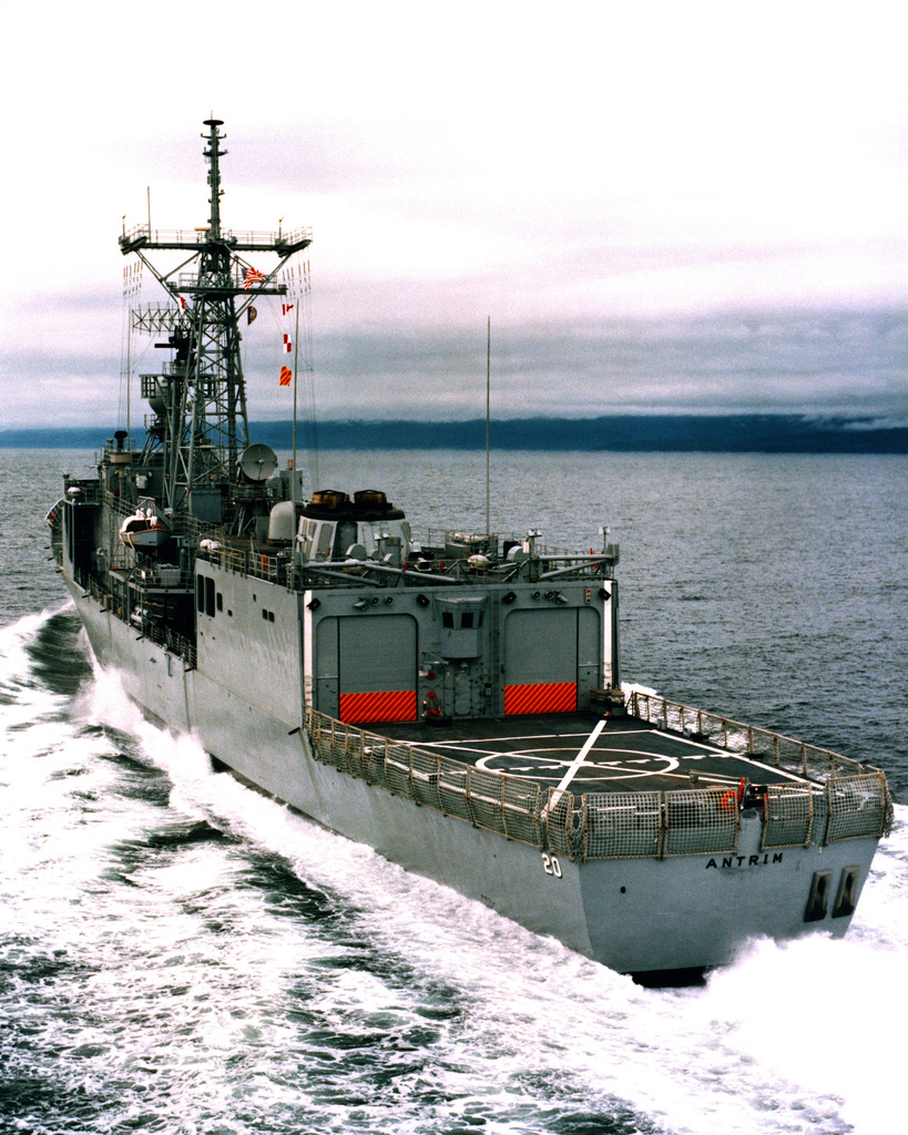 An aerial port quarter view of the guided missile frigate ANTRIM (FFG-20) as Todd Pacific Shipyards Corporation conducts sea trials