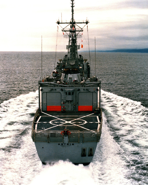 An stern view of the guided missile frigate ANTRIM (FFG-20) as Todd Pacific Shipyards Corporation conducts sea trials