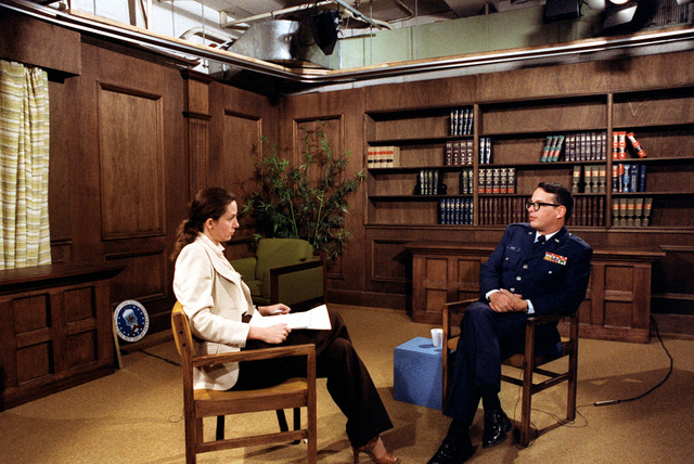 BGEN Melvin G. Alkire, commander of the Air Force Logistics Command, is being interviewed during media seminar training