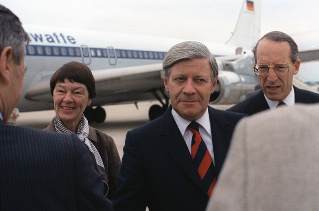 Chancellor Helmut Schmidt of West Germany is welcomed upon arrival to the United States for a visit