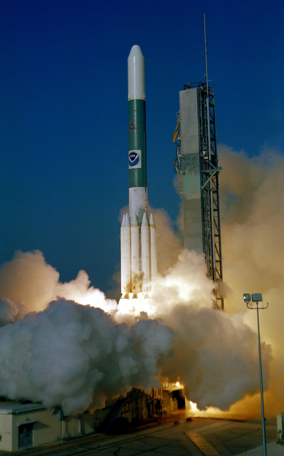 A Delta 154 rocket lifts off from Complex 17 carrying a Geostationary Operational Environmental Satellite Five